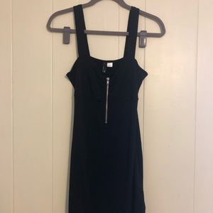 Black Mini Dress with Front Zipper Detail - size 8